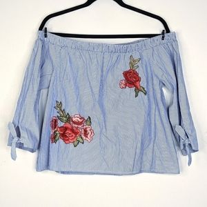 Iris Off the Shoulder Floral Embroidered Top
